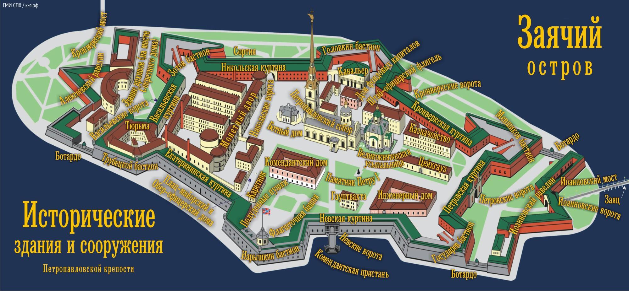 План схема петропавловской крепости.