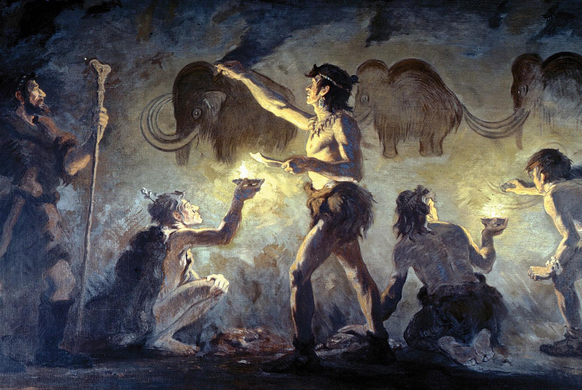 Роспись стен пещеры Фон-де-Гом, юго-западная Франция (Charles Robert Knight, American Museum of Natural History).