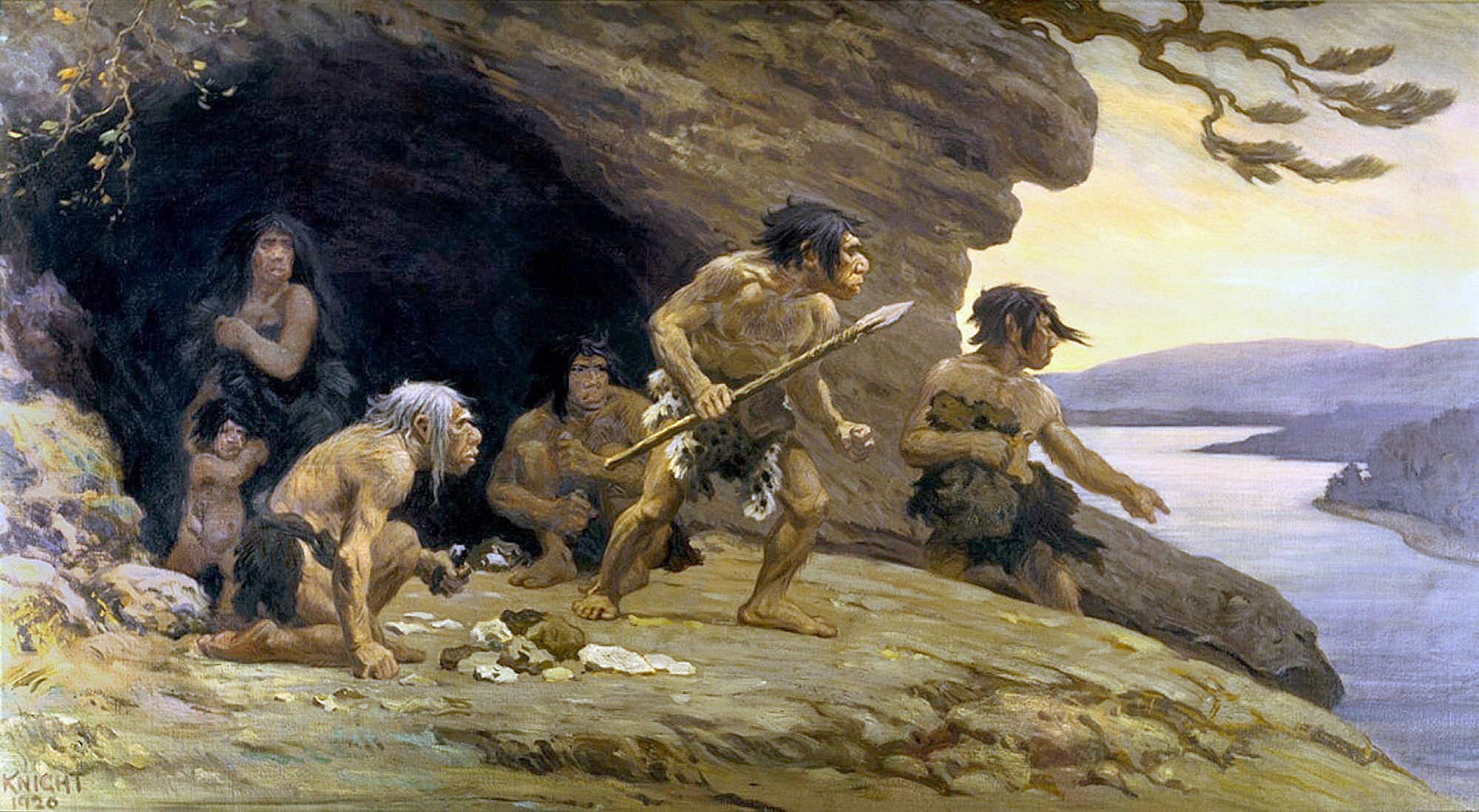 Неандертальцы у пещеры Ле-Мустье, юго-западная Франция (Charles Robert Knight, American Museum of Natural History).