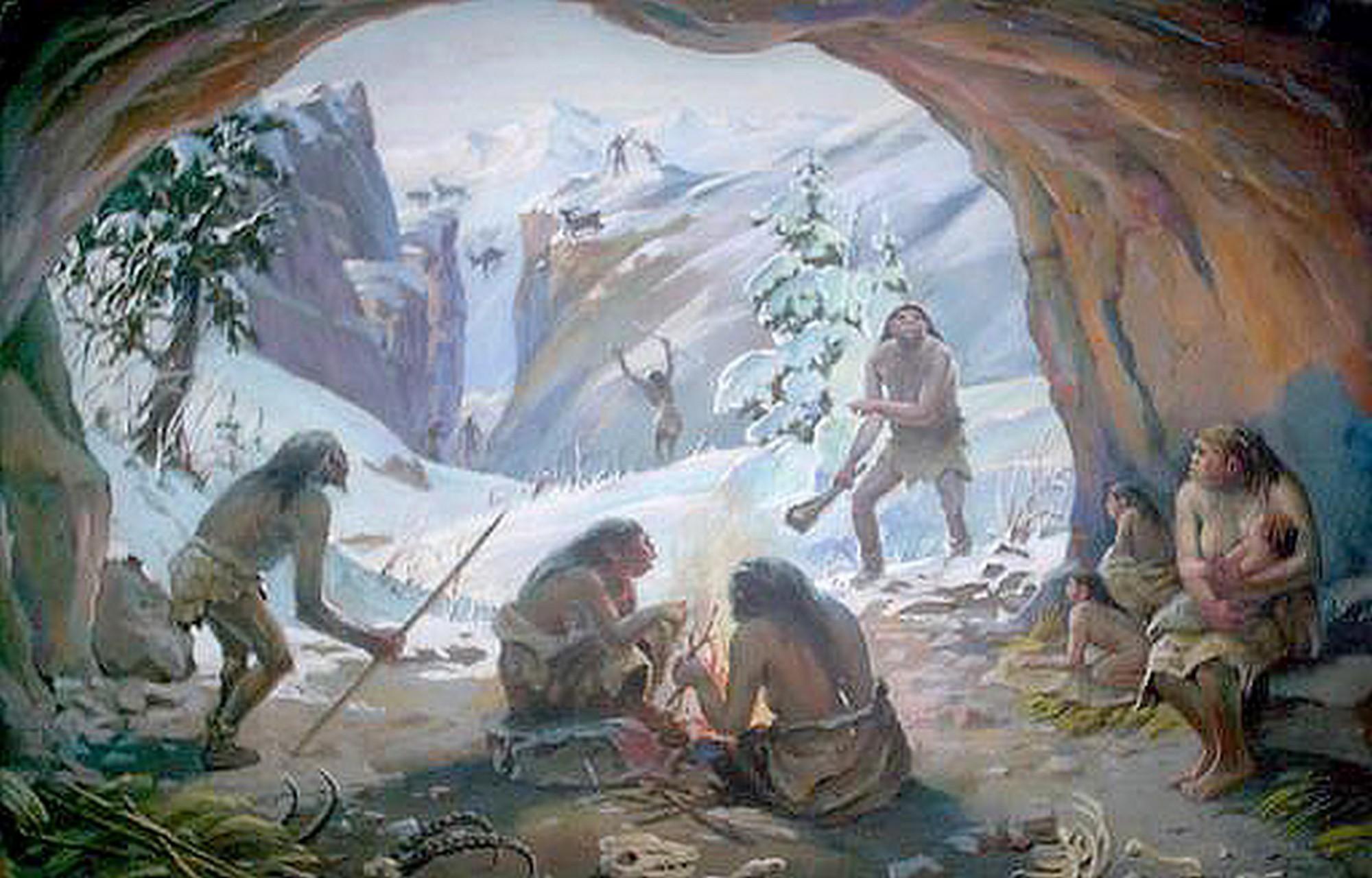 Группа неандертальцев зимой в пещере Тешик-Таш, Узбекистан (А.Я. Стимбан, Государственный музей природы Узбекистана).