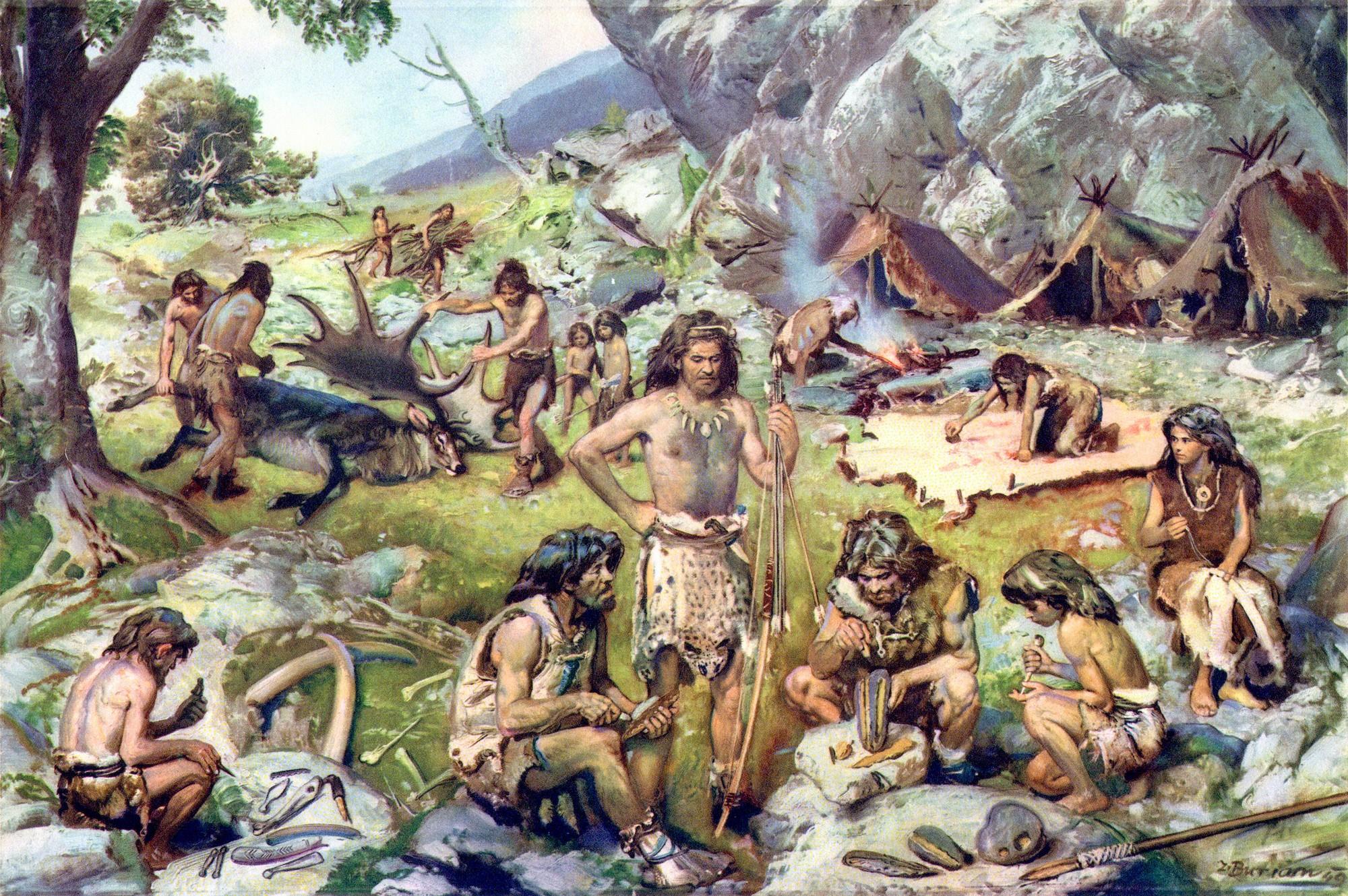 Стоянка охотников верхнего палеолита (Зденек Буриан).