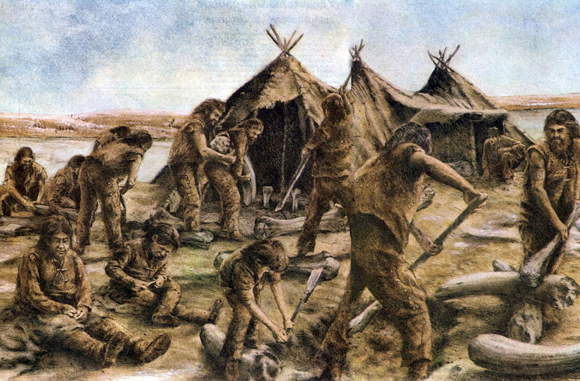 Группа охотников в Костёнках готовит долговременную стоянку; на заднем плане — «длинный дом» (Придо Т. «Кроманьонский человек»).