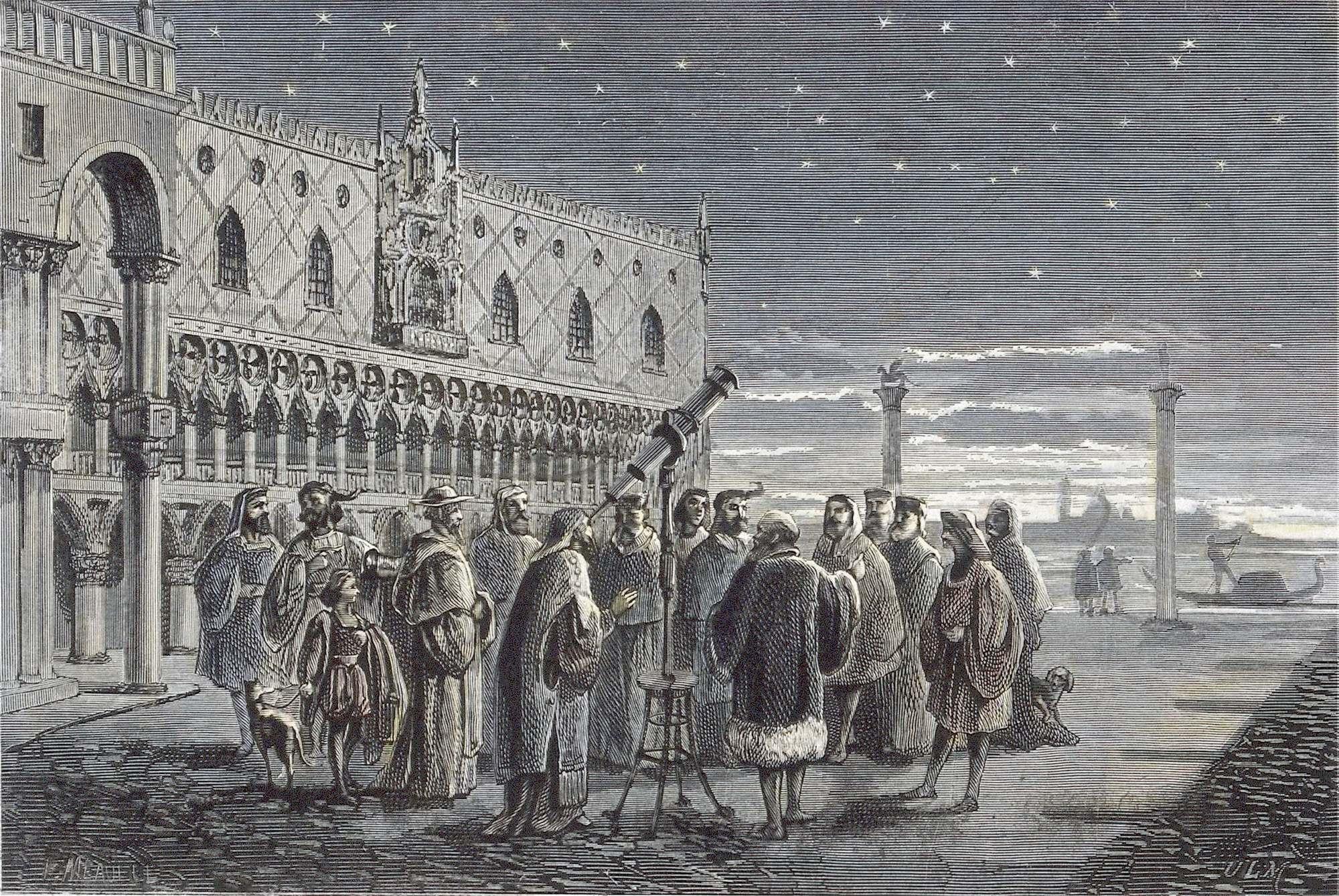 Галилей наблюдает за спутниками Юпитера на площади Сан-Марко, Венеция (Wellcome Library, London).