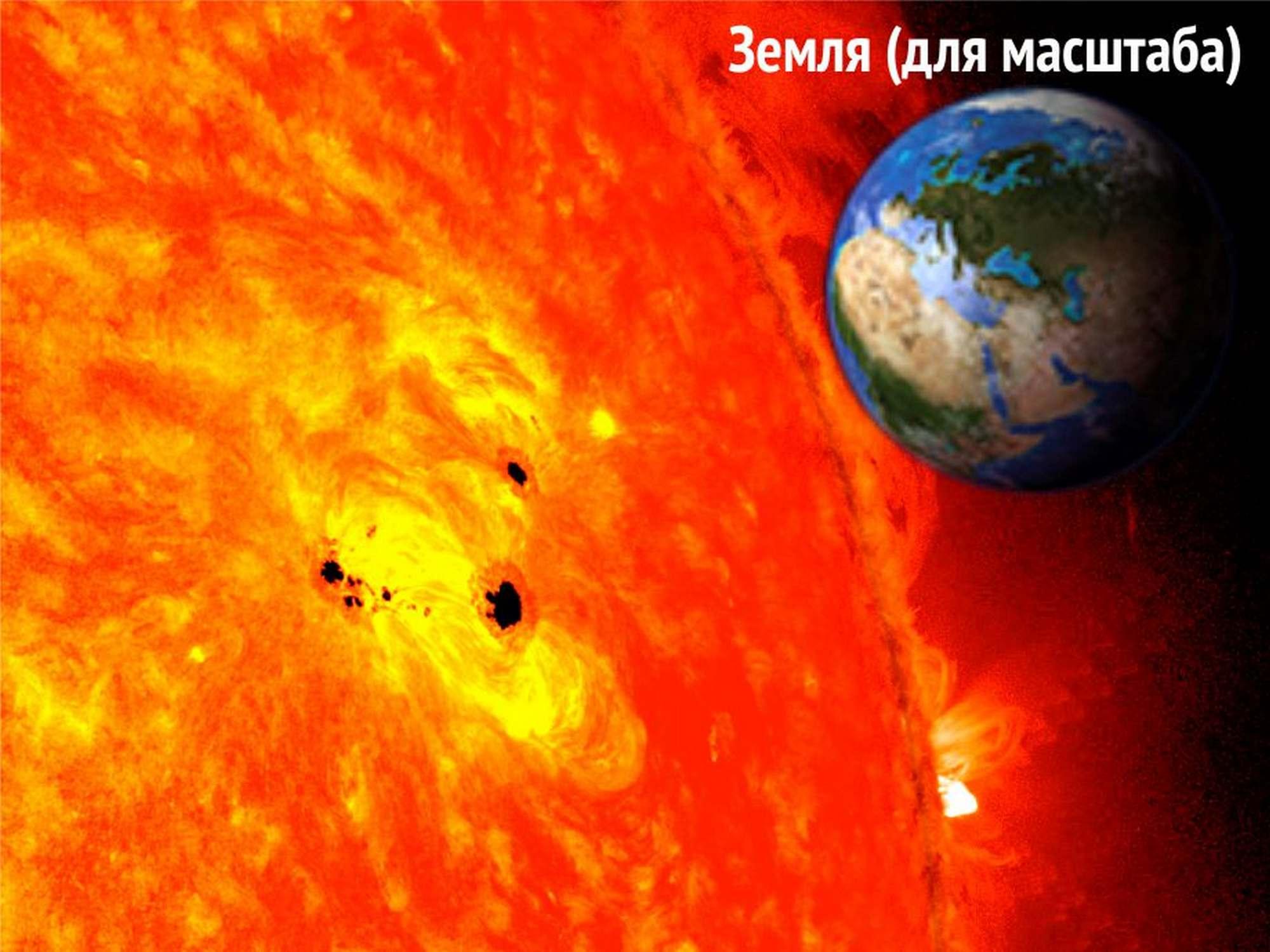 Пятна на Солнце 19-20 февраля 2013 года (NASA/SDO/AIA/HMI/Goddard Space Flight Center).