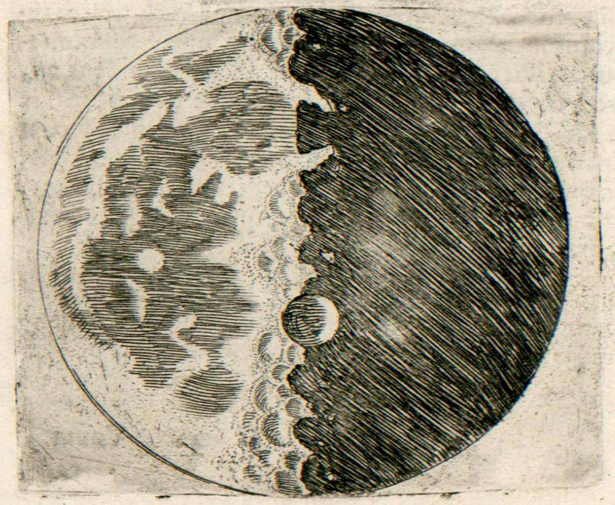 Рисунок рельефа поверхности Луны, выполненный Галилеем в 1609 году (yung.scienceontheweb.net).