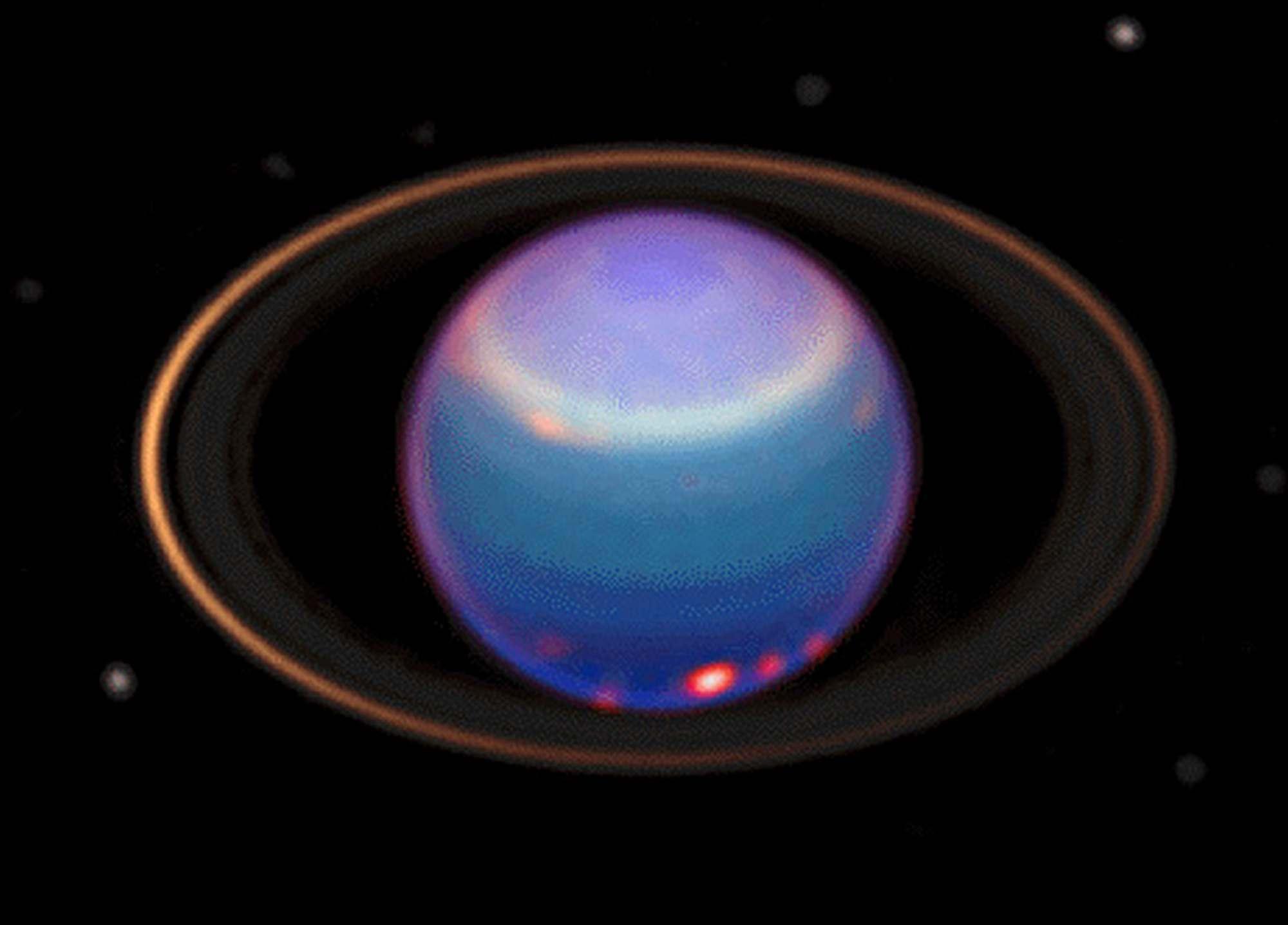 Уран был открыт в 1781 году английским астрономом Уильямом Гершелем. Так же, как у Юпитер и Сатурна, у Урана есть кольца и спутники (NASA and Erich Karkoschka, University of Arizona).