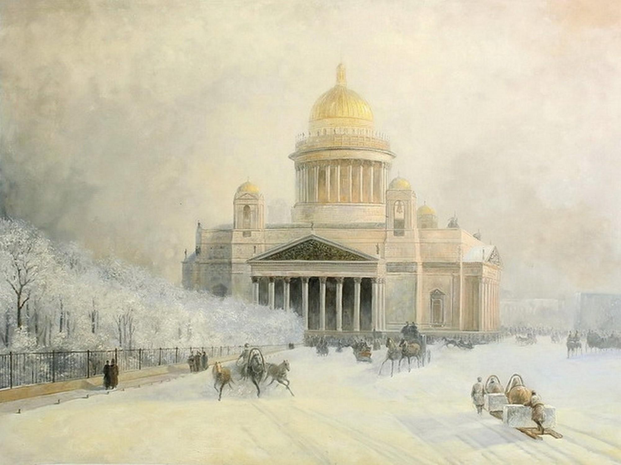 Исаакиевский собор в морозный день. И.К.Айвазовский. 1891 г.