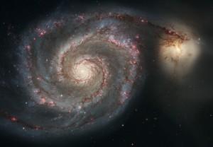 Взаимодействующие галактики Водоворот (23 млн световых лет от нас) в созвездии Гончих Псов (S. Beckwith – STScI, Hubble Heritage Team – STScI / AURA, ESA, NASA).