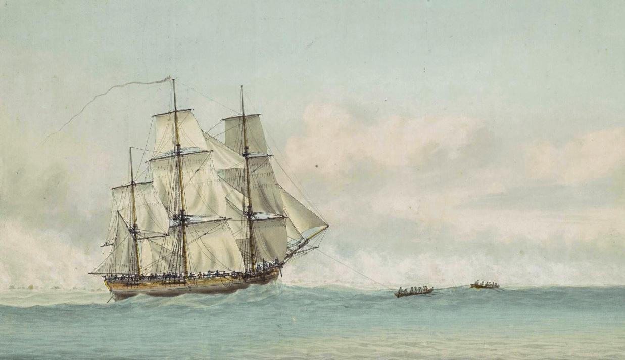 Endeavour у берегов Новой Голландии. Рисунок Сэмюэля Аткинса, ок. 1794 г.