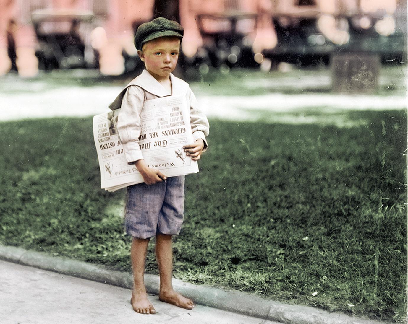 Разносчик газет из Алабамы, 1914